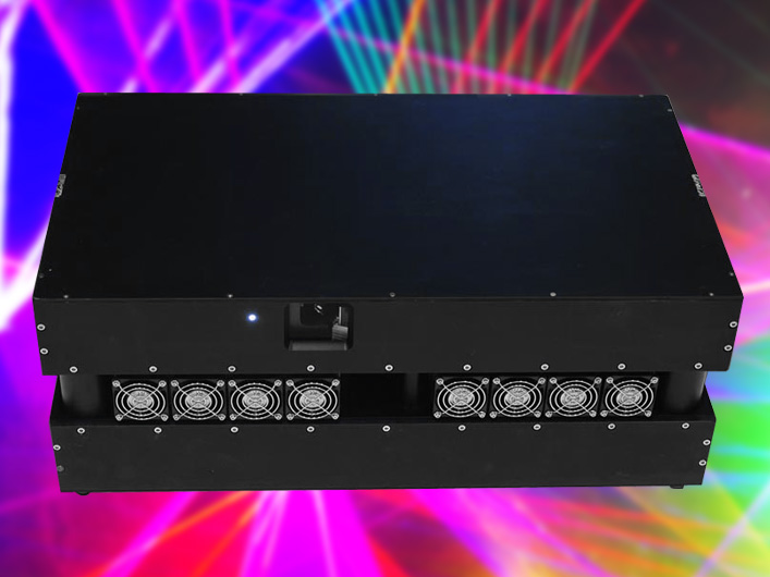 Lightwave has created, in partnership with manufacturer Arctos, a revolutionary new 38 Watt full color laser. The Prism 38K laser projector is a technical milestone for the laser entertainment industry. This model, while only marginally more powerful that the 34 Watt model it replaces, packs nearly double the red power, and produces 35 Watts of crisp, balanced, white light output. All colors appear equal in brightness, which is unprecedented for any other laser of this power.