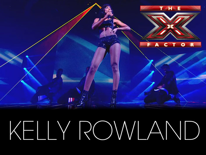 "Judge Kelly Rowland took to the stage during X-Factor UK's semi-final results show on December 4 to perform her hit singles ""When Love Takes Over"" and ""Down For Whatever."" Accompanying her energetic performance were over 42 watts of laser power from Lightwave's Prism Series laser projectors."