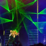 To celebrate her collaboration with cell phone company T-Mobile, Colombian superstar Shakira gave a free concert for an estimated 7,500 people in New York's Bryant Park on October 10, 2013. Lightwave brought an array of special laser effects to help the singer mark her new partnership.