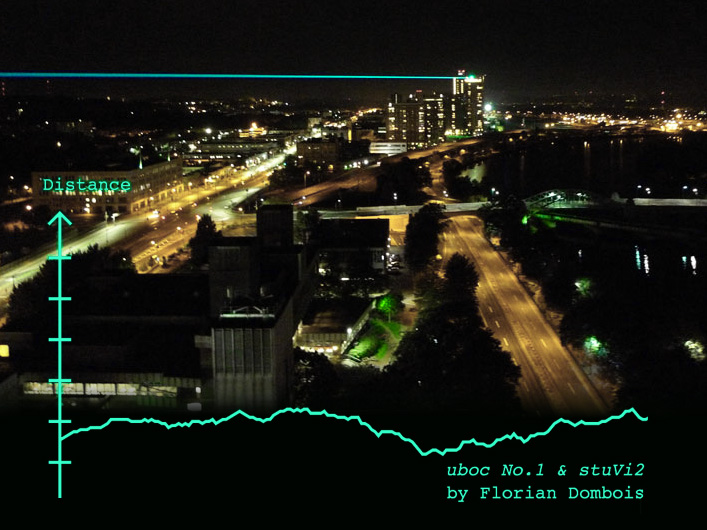 Lightwave International provided lasers, custom hardware, and data interface for artist Florian Dombois' uboc No. 2 & stuVi2 display demonstrating distance relationships between buildings.