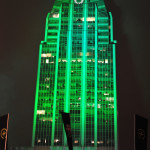 Nike uses Lightwave International for large scale specialty lighting with skyscrapers and programming to emulate the Nike FuelBand on a city scale during SXSW in Austin, Texas